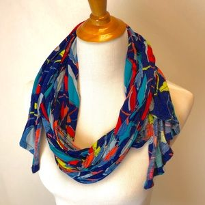 Claire's | blue pink floral print scarf